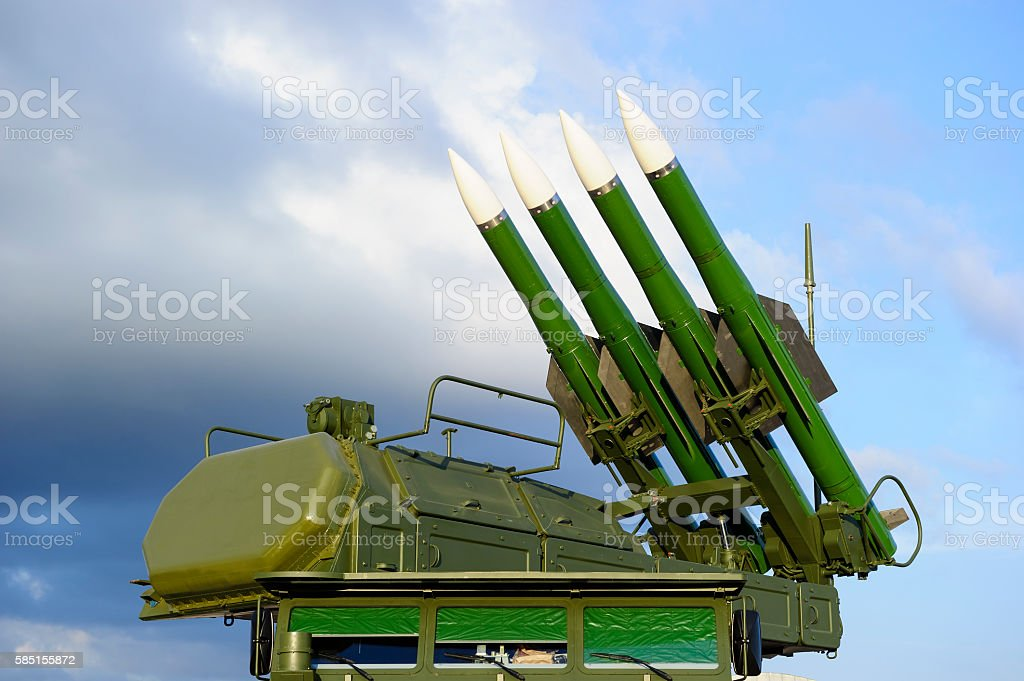 Missile launcher with radar stock photo
