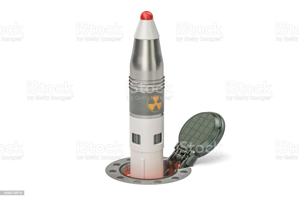 Missile launches from its underground silo launch facility, 3D rendering stock photo