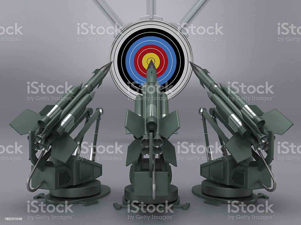 Missiles aiming the target royalty-free stock photo