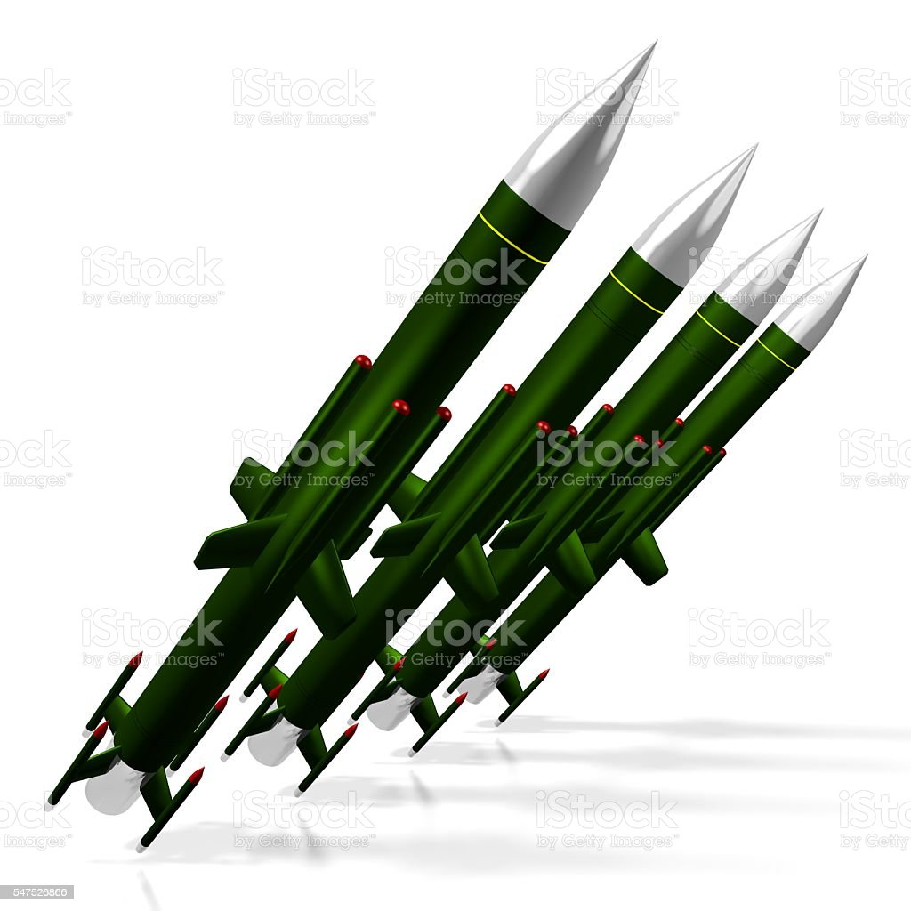 Missiles ready to launch, war concept stock photo