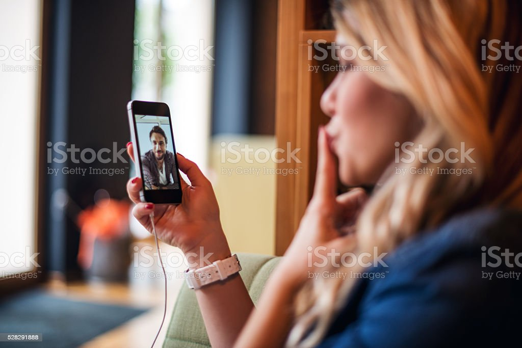 Woman having a video call with boyfriend.