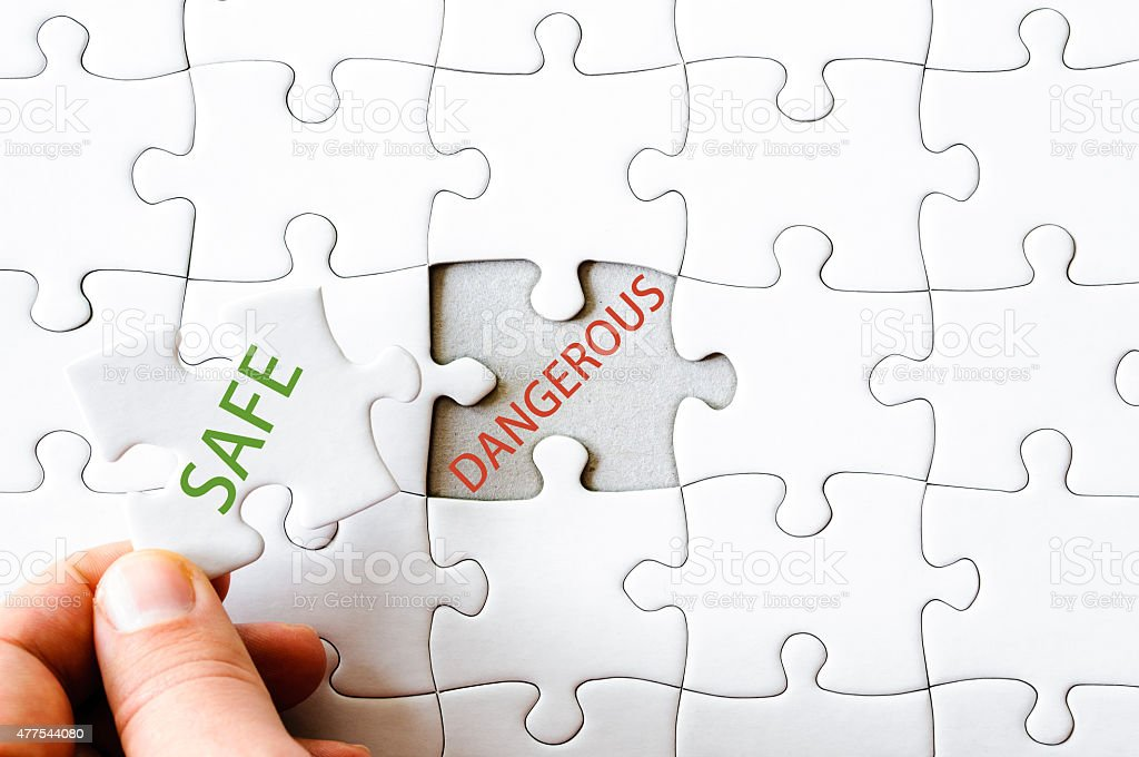 Missing jigsaw puzzle piece with word SAFE stock photo