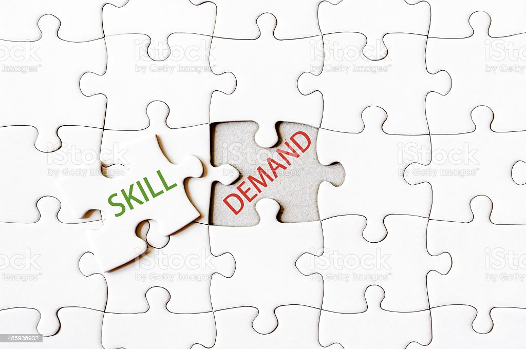 Missing jigsaw puzzle piece with word SKILL stock photo