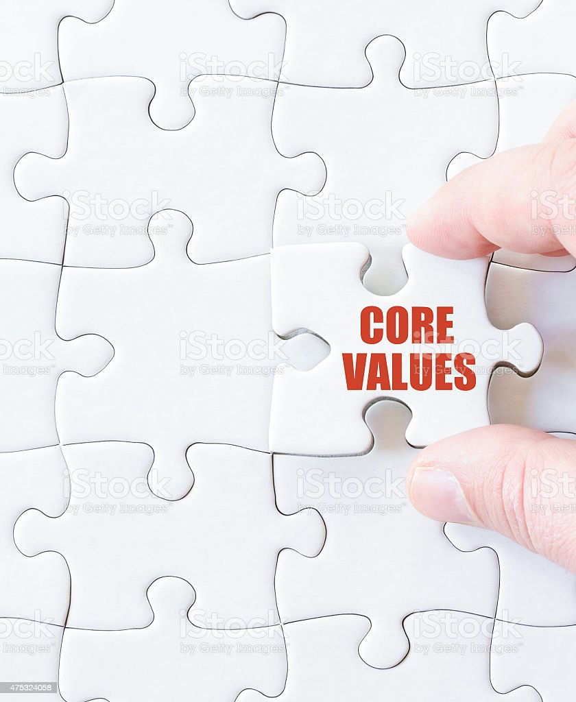 Missing jigsaw puzzle piece with words  CORE VALUES stock photo