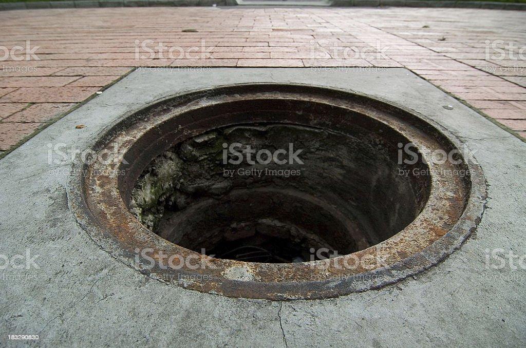 Missing manhole cover stock photo