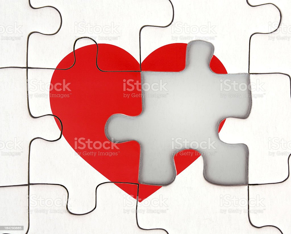 Missing Part of heart on a jigsaw puzzle