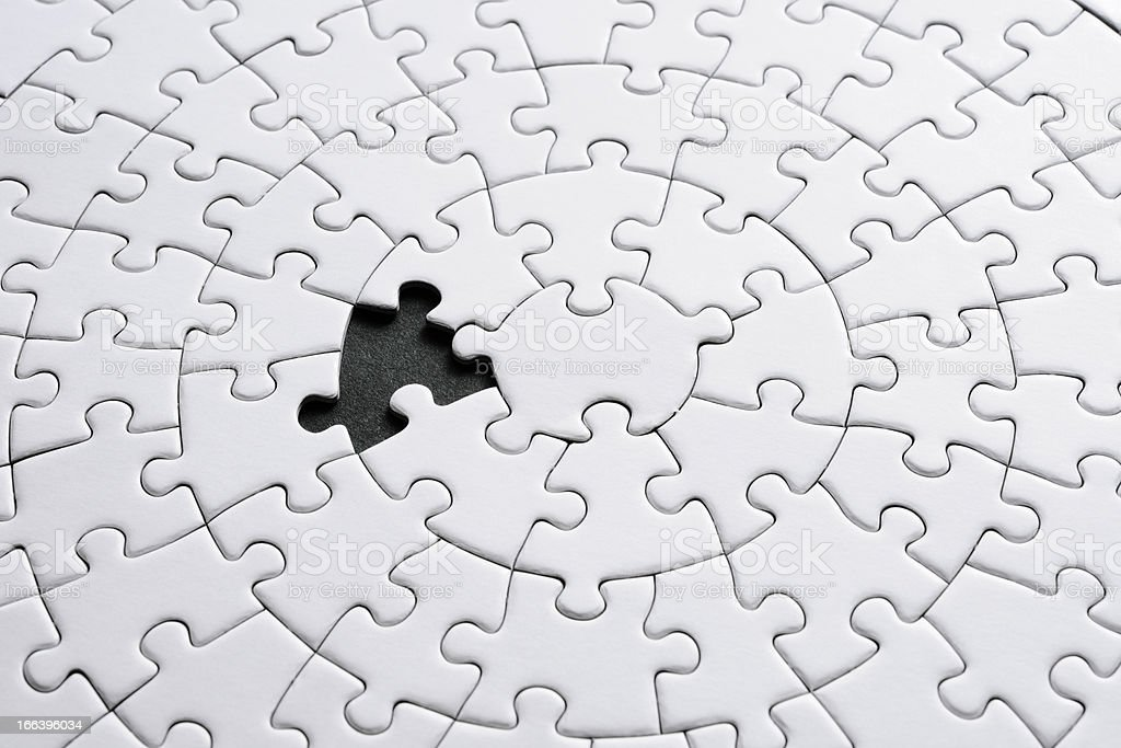 Missing Piece Of Blank White Jigsaw Puzzle On Black ...