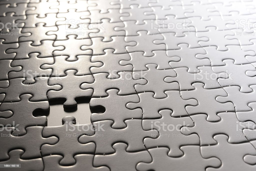 Close-up of missing piece of blank white Jigsaw puzzle.