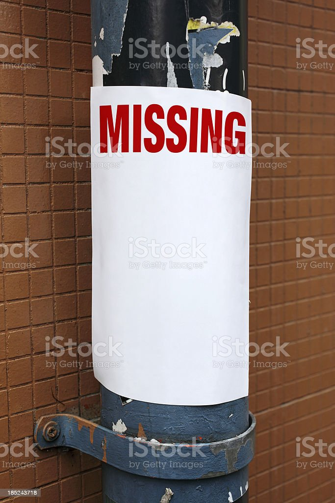 Missing Poster royalty-free stock photo