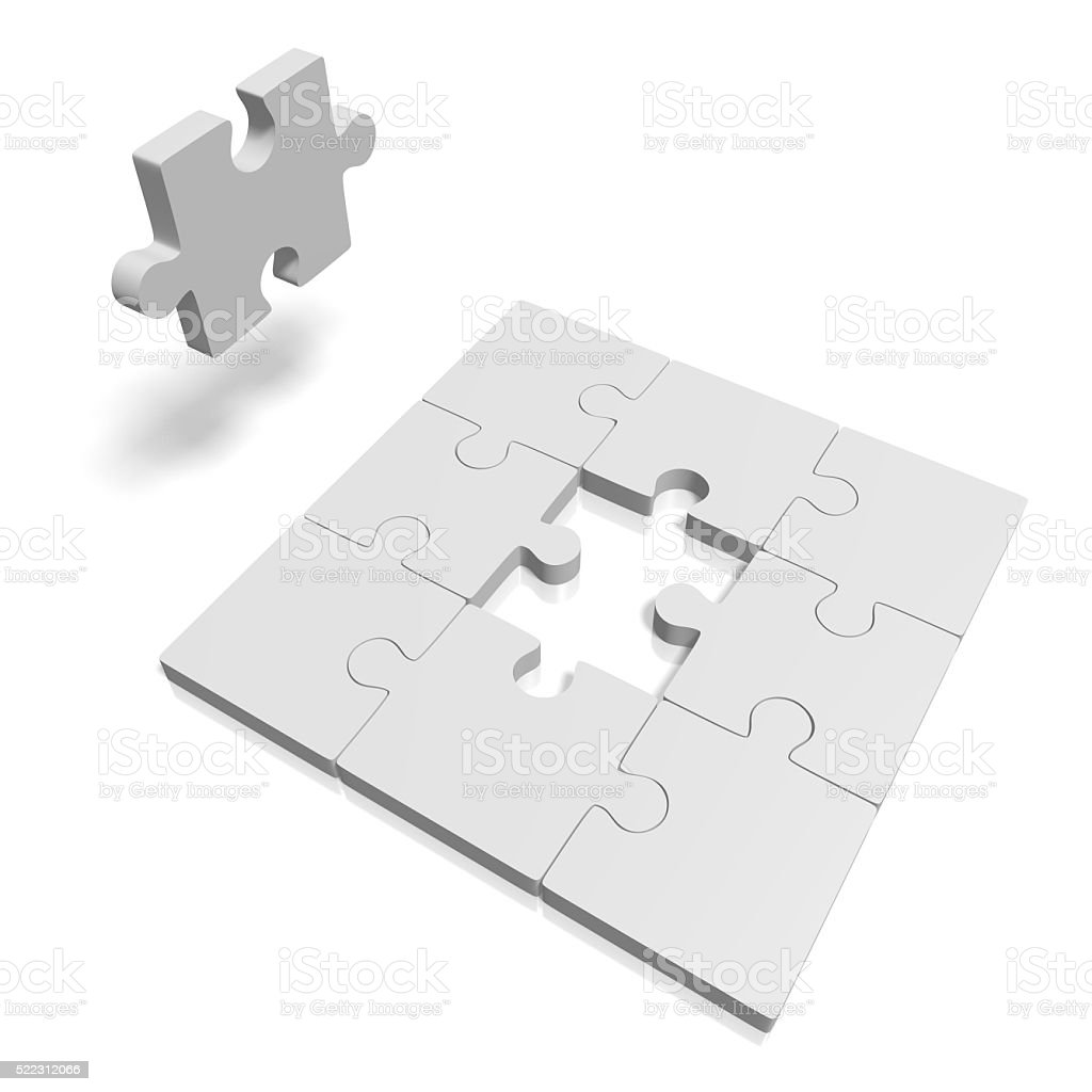 3D missing puzzle concept stock photo
