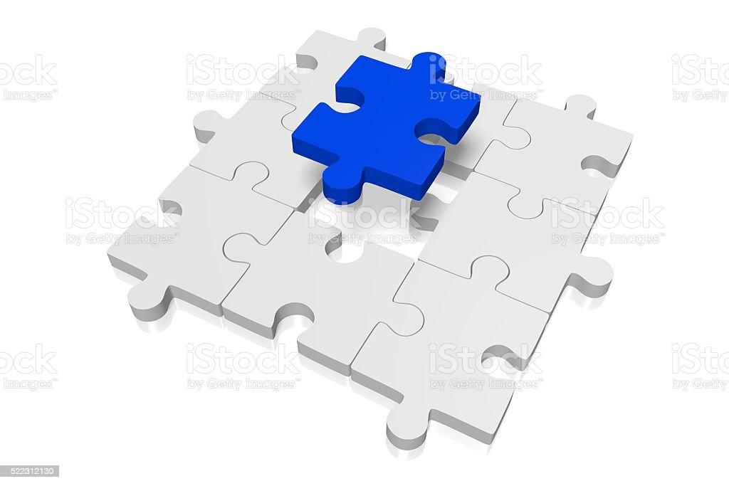 3D missing puzzle concept stock photo