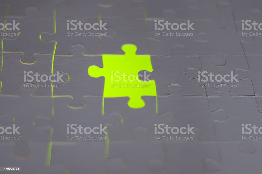 Symbol of solutions of business concepts, missing puzzle piece with...