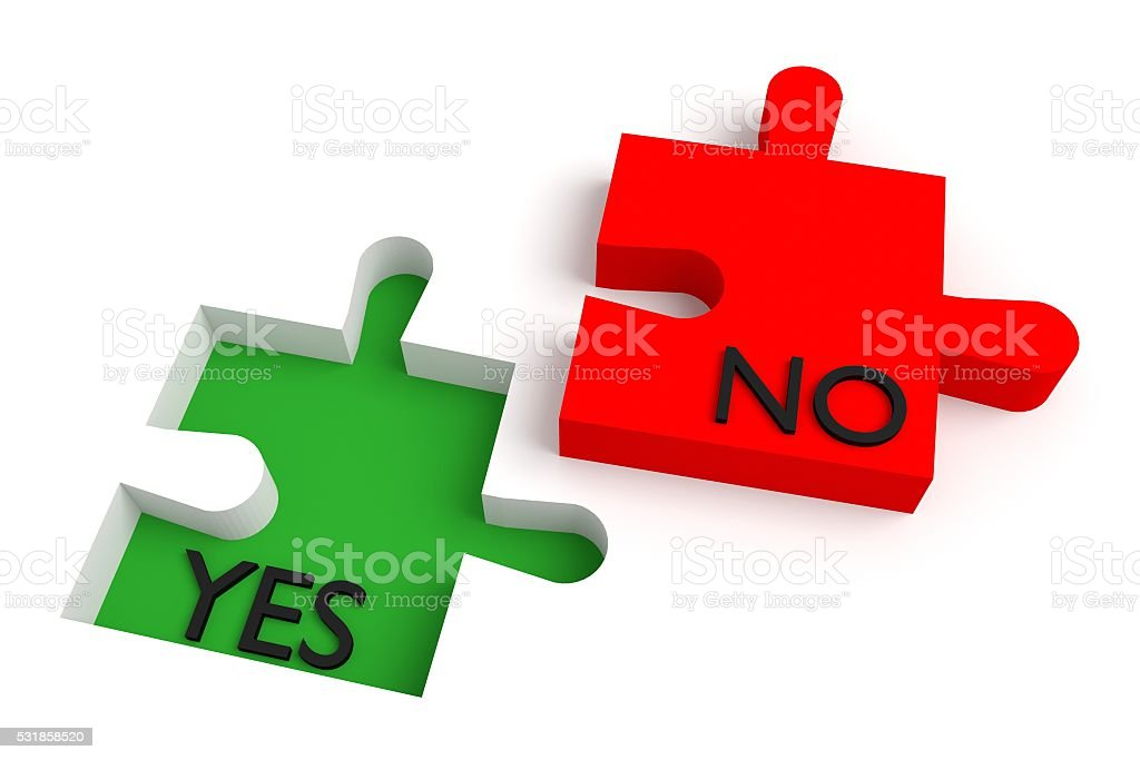 Missing puzzle piece, yes or no, red and green stock photo