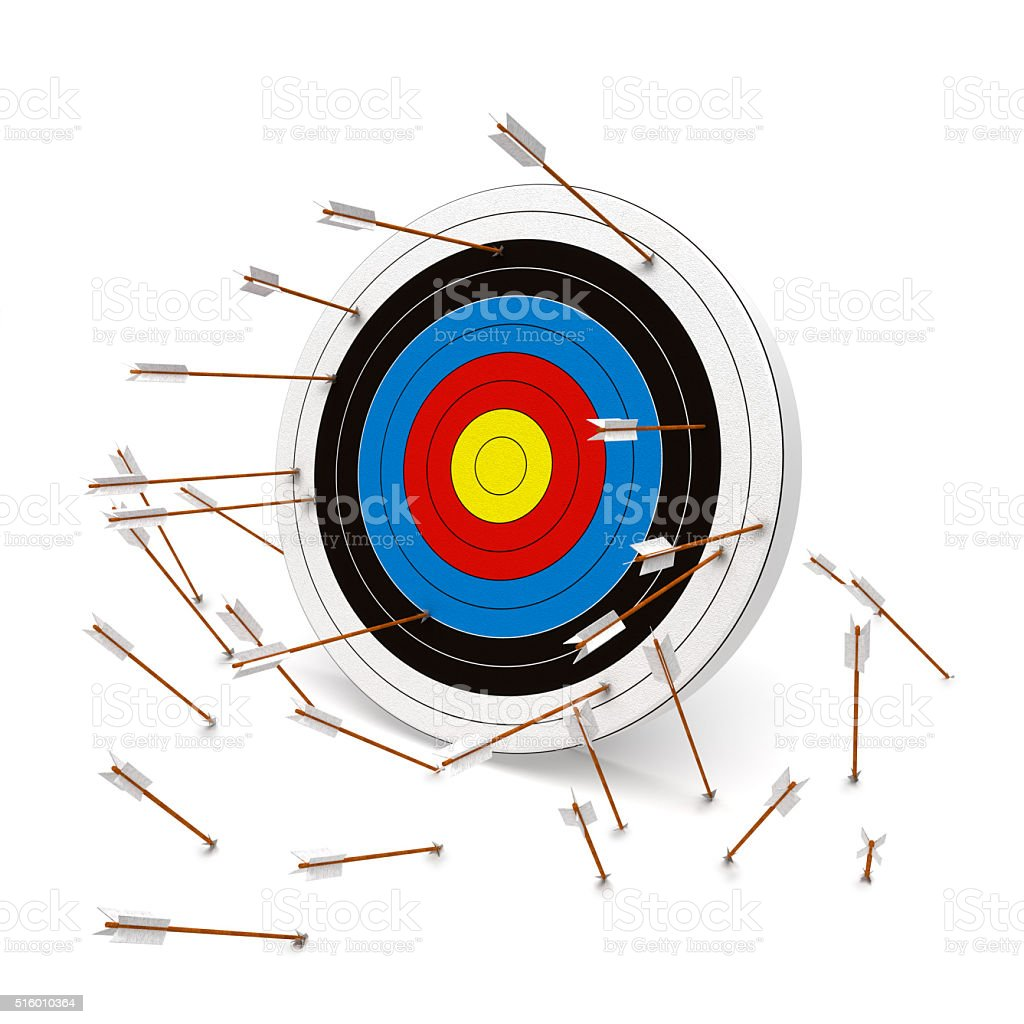Missing the mark, Multiple arrows missing the target. stock photo