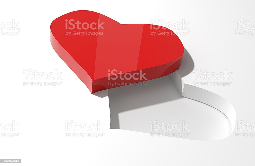 Missing you, Red Heart on White Background, with Copyspace (XXXL) royalty-free stock photo