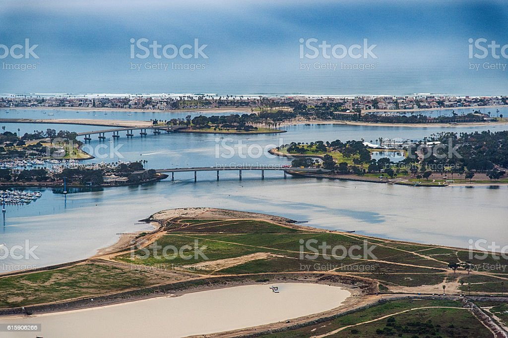 Mission Bay Aerial View - San Diego stock photo