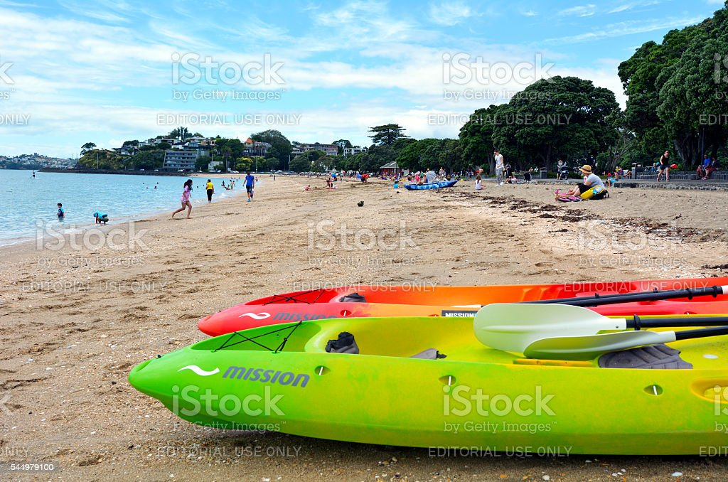 Mission bay beach in Auckland New Zealand stock photo