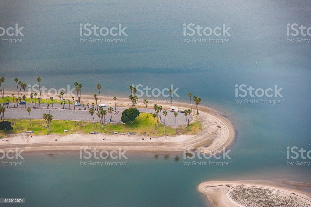 Mission Bay Parking Lot and Beach - San Diego stock photo