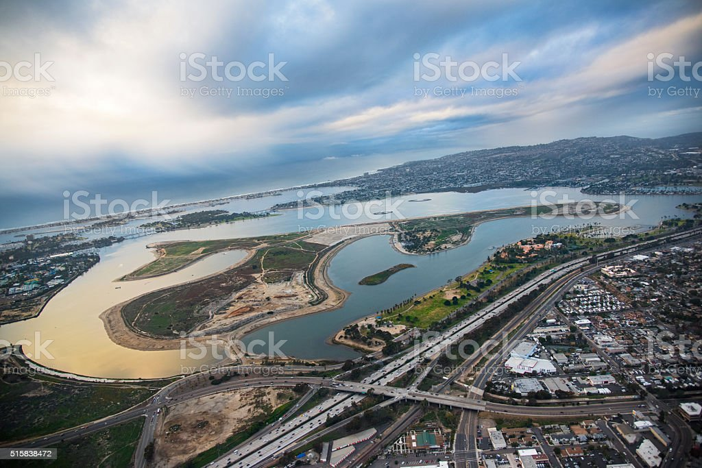 Mission Bay San Diego From Above stock photo