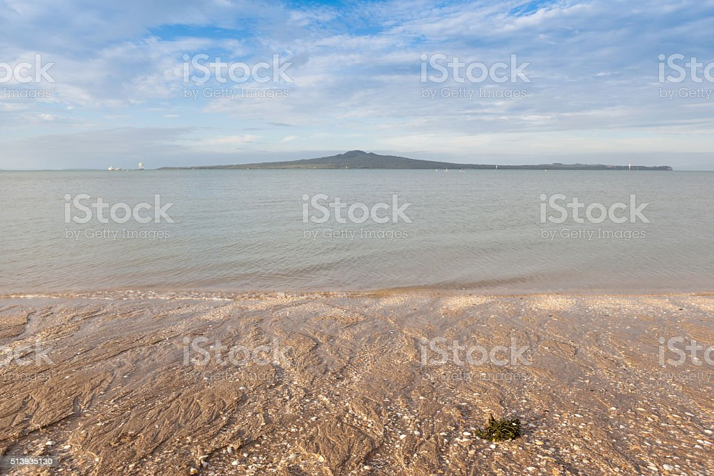 Mission bay view with Rangitoto island background, Auckland, New stock photo