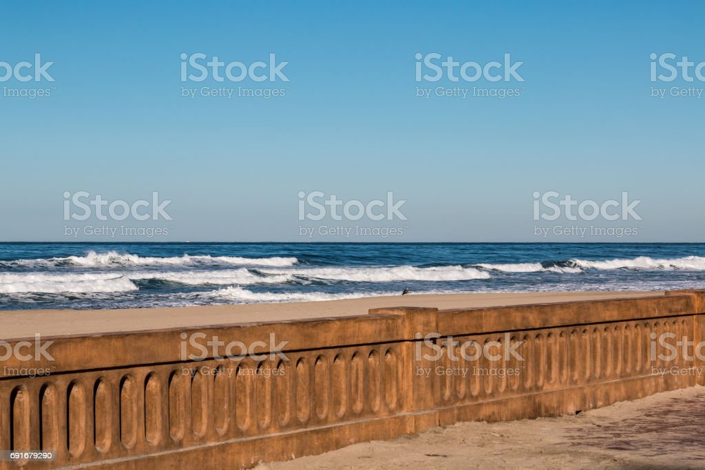 Mission Beach Boardwalk Seawall after 2016 Restoration stock photo