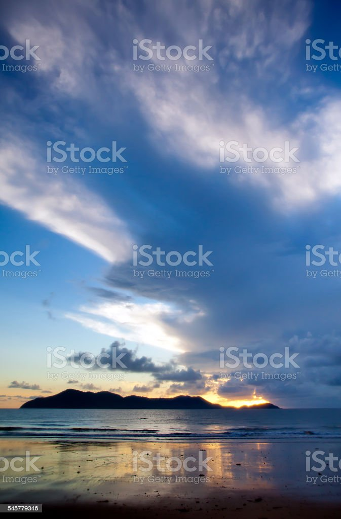 Mission Beach North Queensland Australia looking out to Dunk Island stock photo