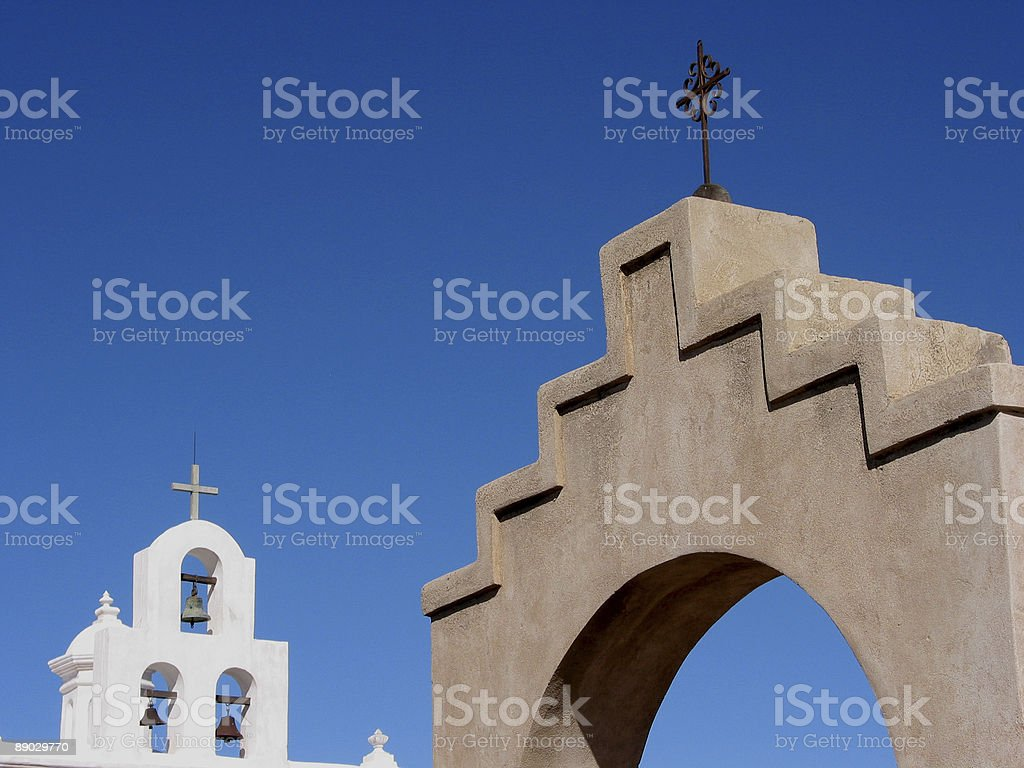 Mission Bell Tower and Steeples, Arizona stock photo