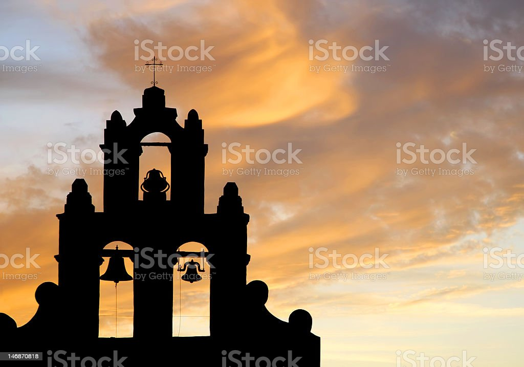 Mission Bells at Sunset (Silhouette) stock photo