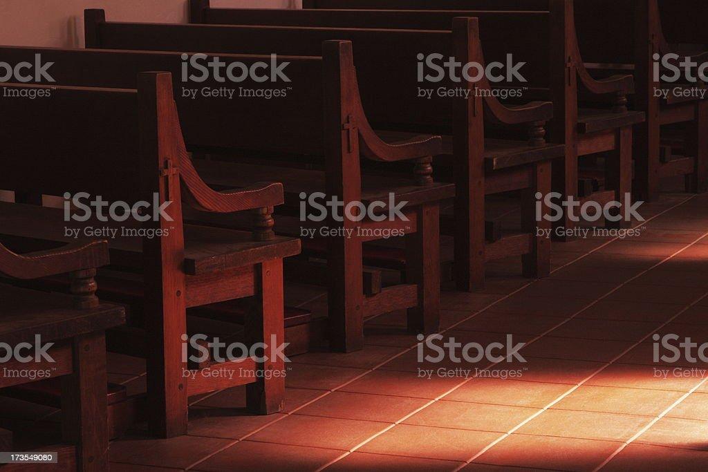 Mission Chapel Bench Seat Sunbeam royalty-free stock photo