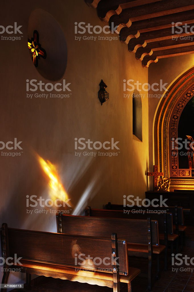 Mission Chapel Nave Pew Spiritual Light royalty-free stock photo