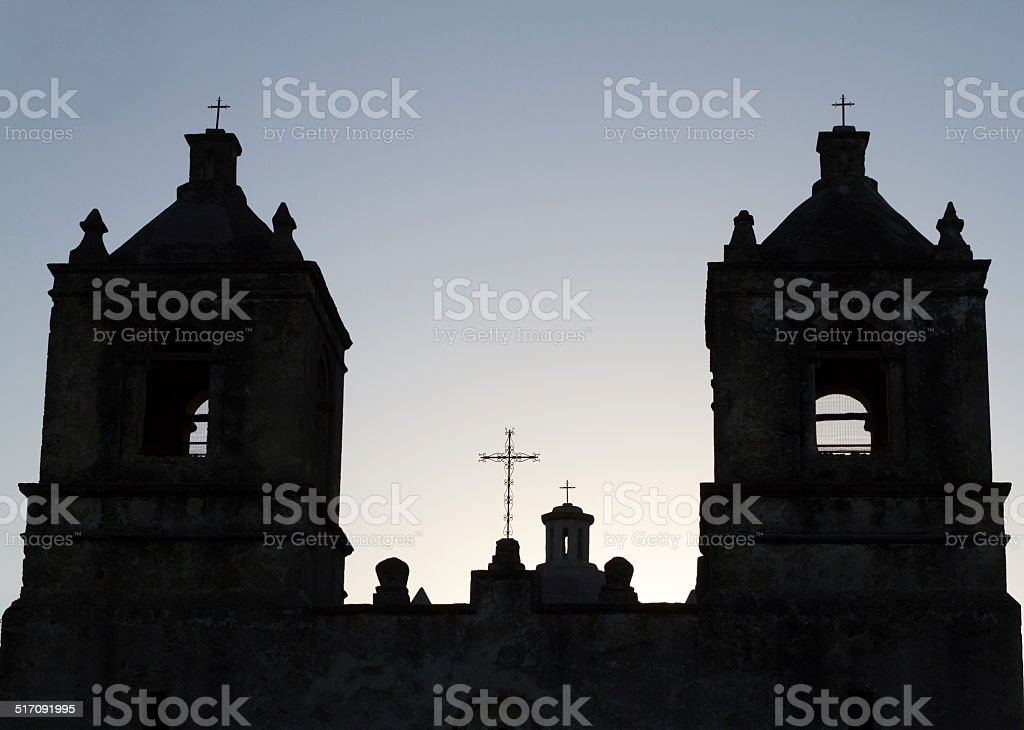 Mission Concepci?n Church in San Antonio (TX) at Daybreak stock photo