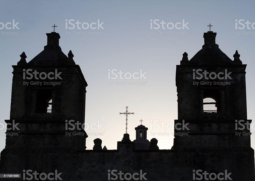 Mission Concepci?n Church in San Antonio (TX) at Daybreak stock photo