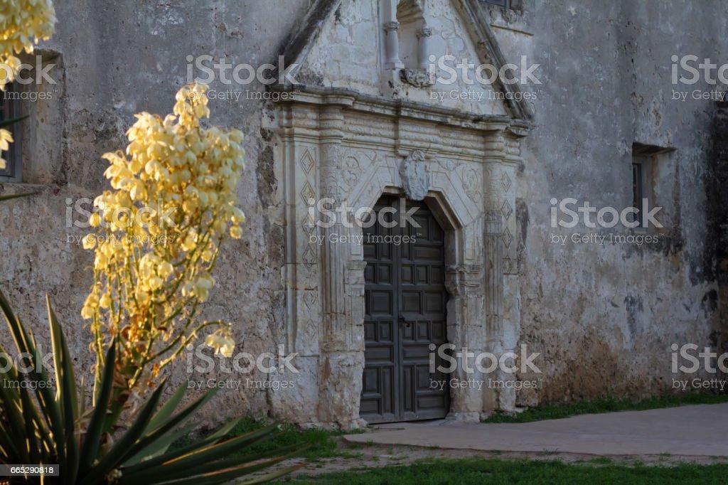 Mission Concepcion, San Antonio, TX, Close-Up Facade stock photo