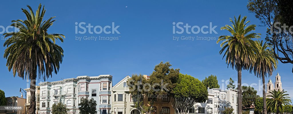 Mission district villas townhouses Castro panorama San Francisco California stock photo