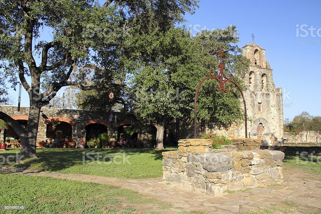 Mission Espada Well stock photo