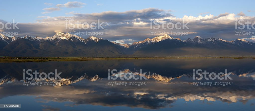 Mission Mountains Reflection stock photo