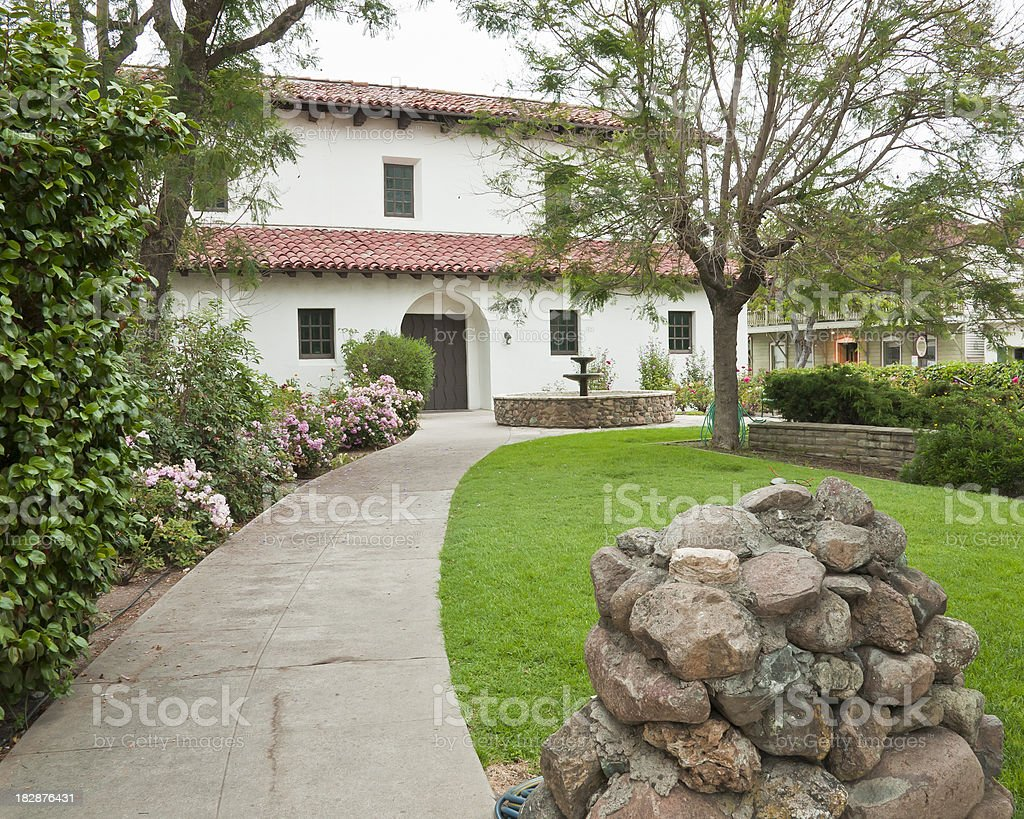 Mission of San Luis Obispo CA: Garden and Rectory stock photo