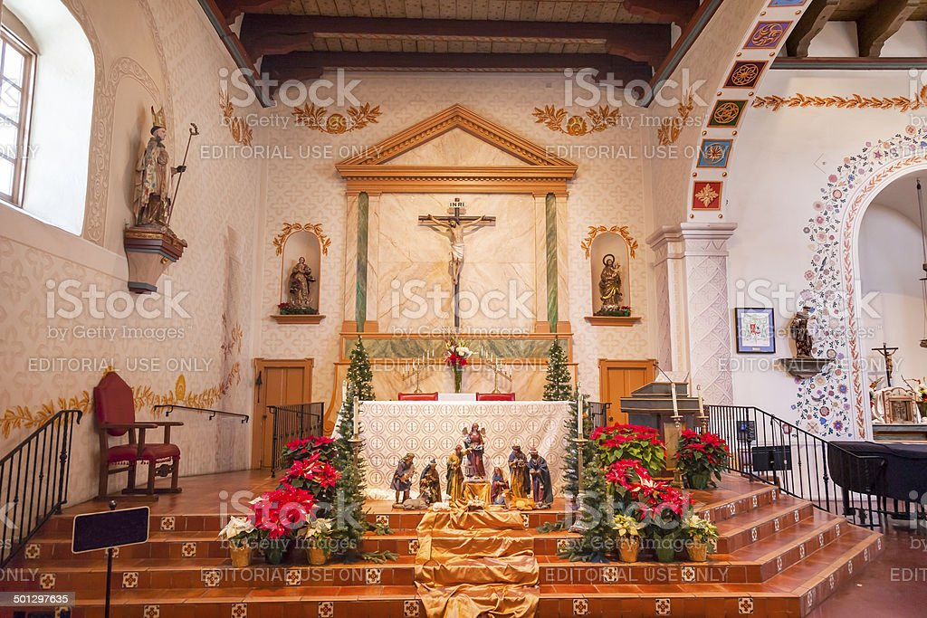 Mission San Luis Obispo de Tolosa California Basilica Cross Alta stock photo