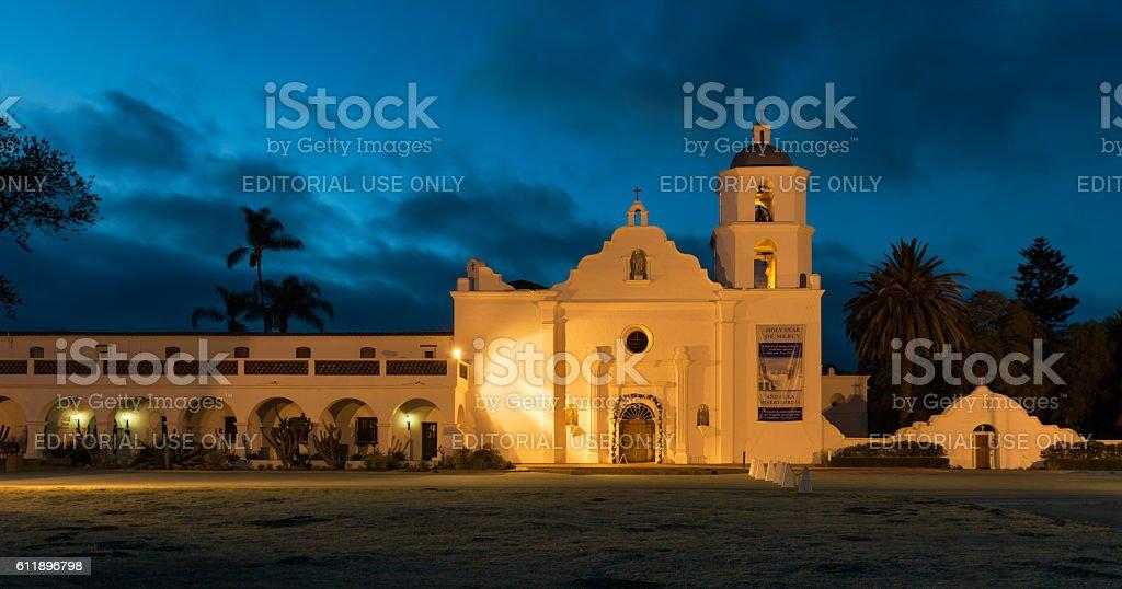 Mission San Luis Rey at night stock photo