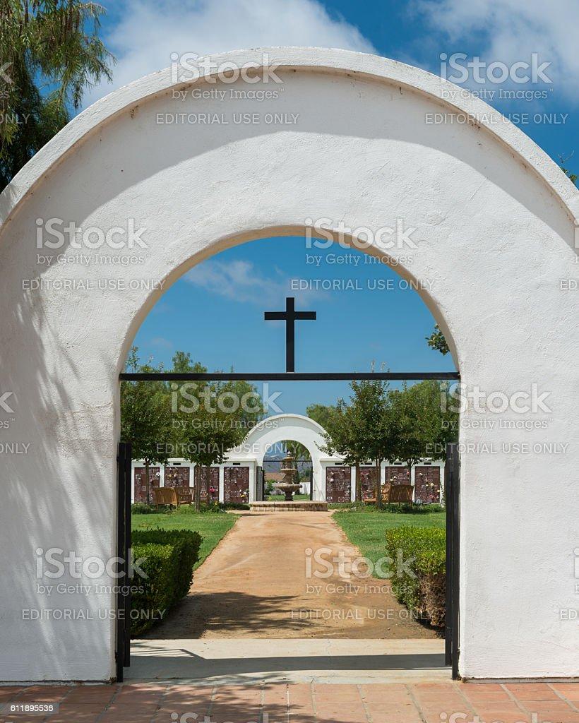 Mission San Luis Rey cemetery stock photo
