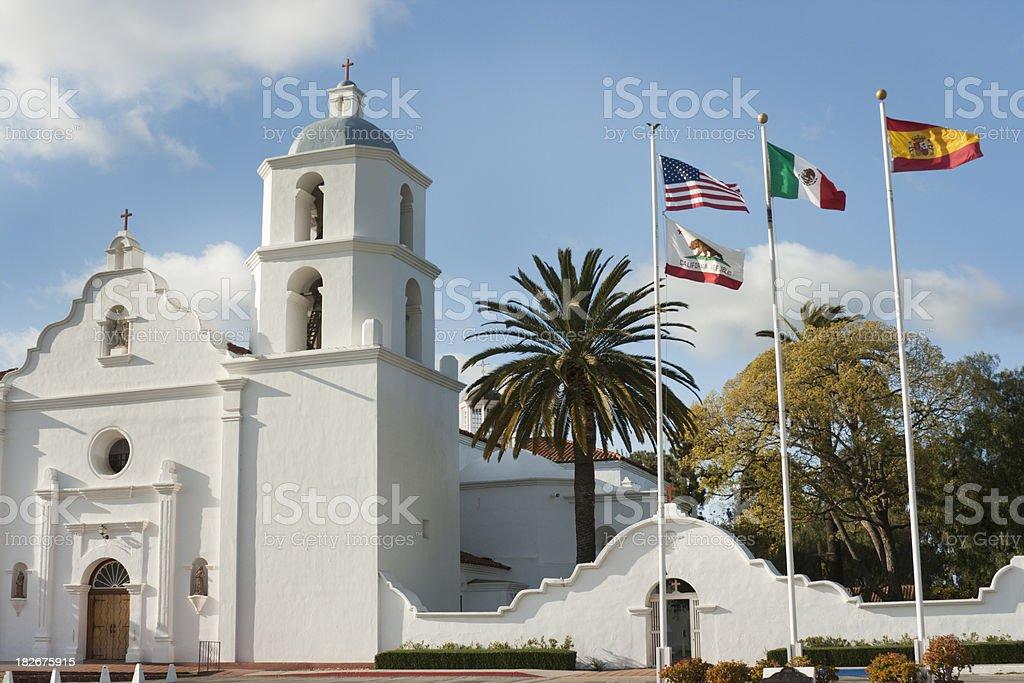 Mission San Luis Rey de Francia Facade, Flags, Oceanside, California stock photo
