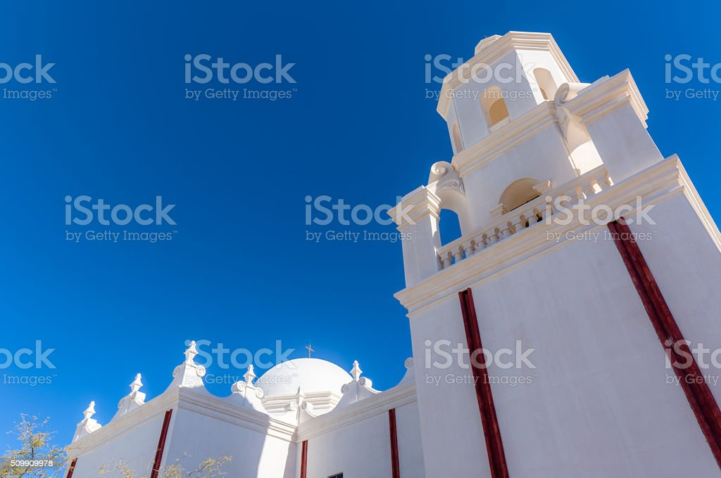 Mission San Xavier del Bac - Bell Towers and Dome stock photo