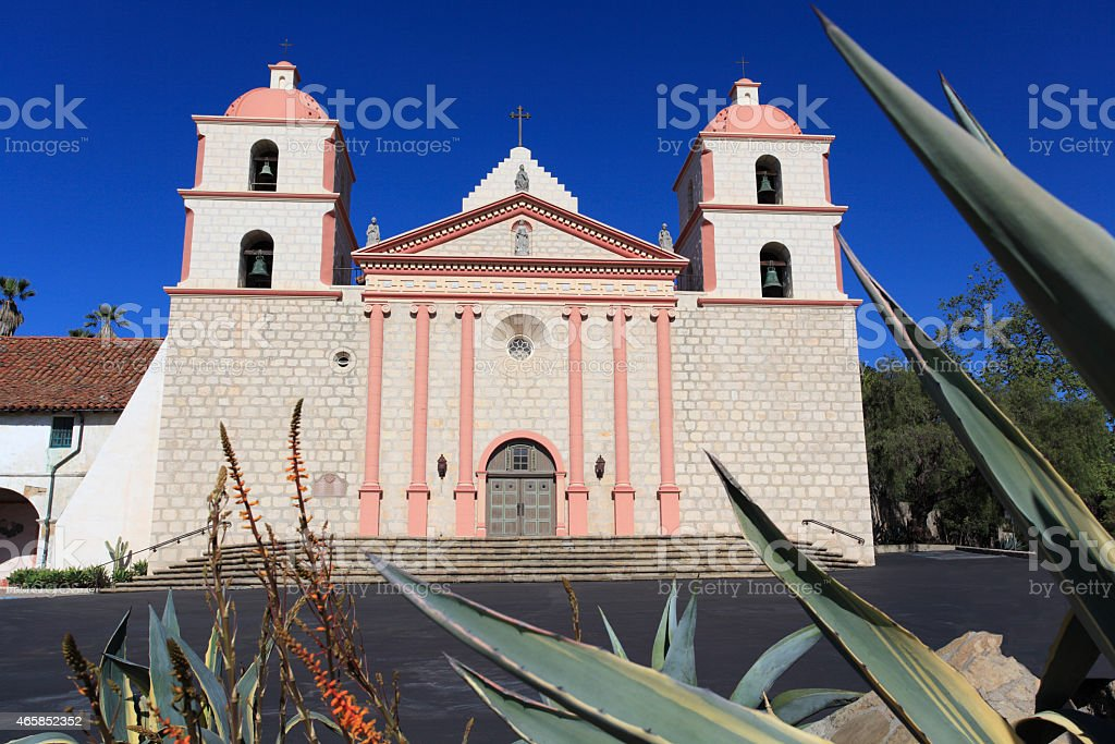 Mission Santa Barbara With Large Agave Cactus stock photo