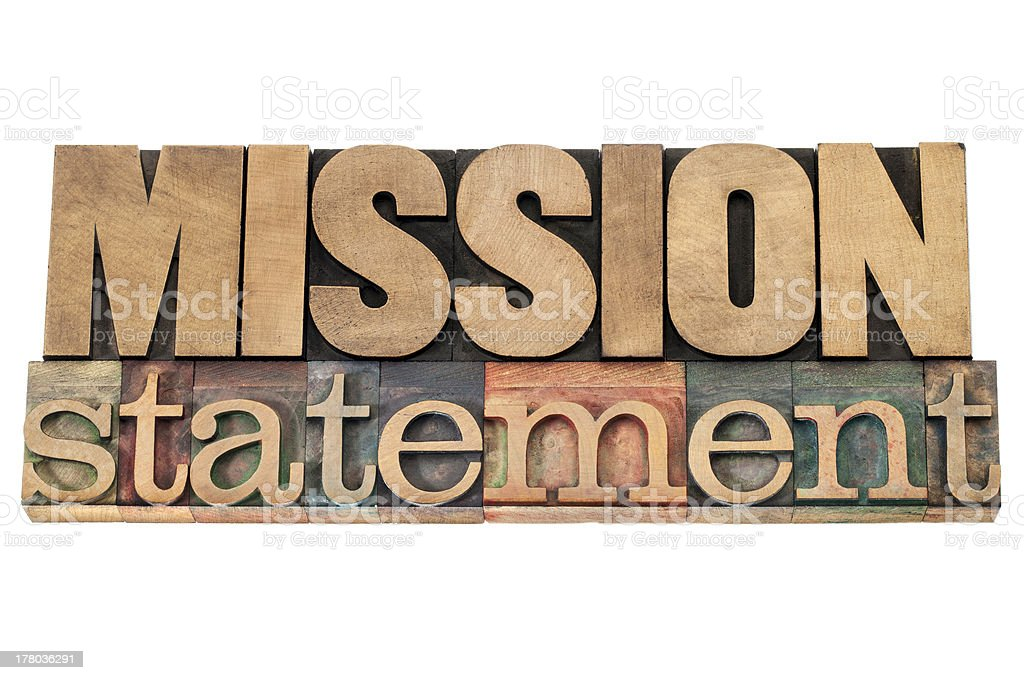 mission statement in wood type royalty-free stock photo