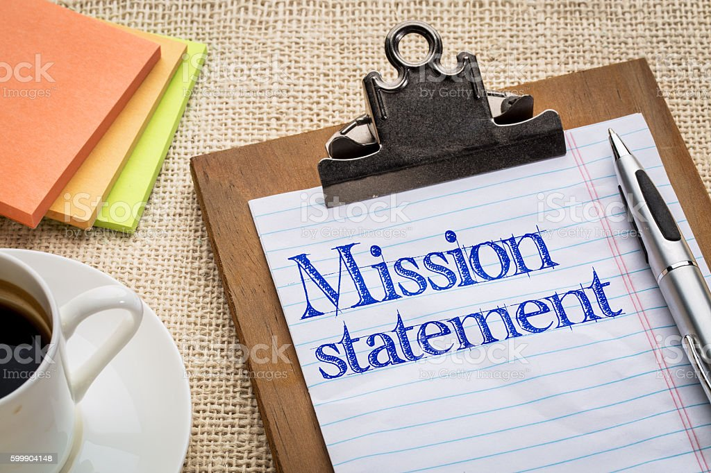 mission statement on clipboard stock photo