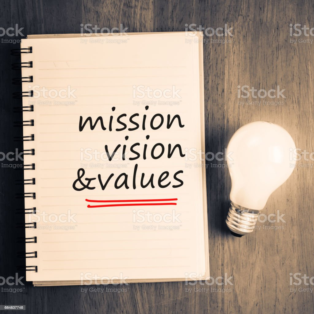 Mission, Vision, Values stock photo