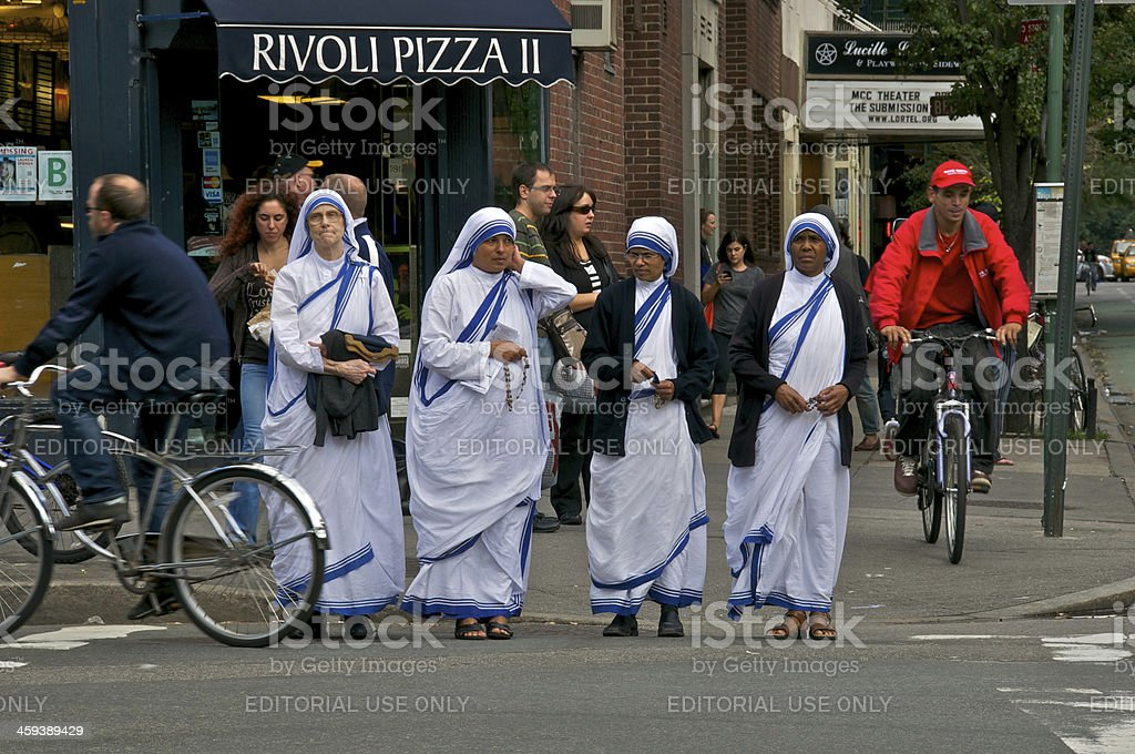 Missionaries of Charity Sisters in Greenwich Village, New York C stock photo