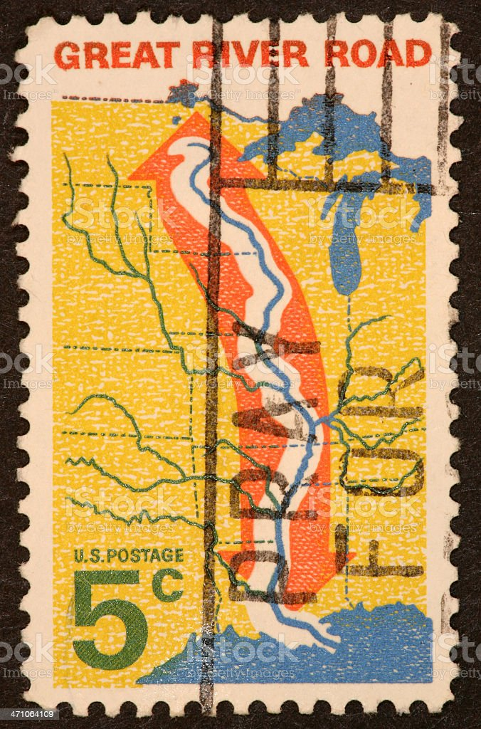 Missisippi River stamp royalty-free stock photo