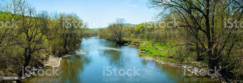 Missisquoi river at Springtime panorama stock photo