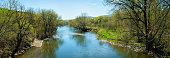 Missisquoi river at Springtime panorama